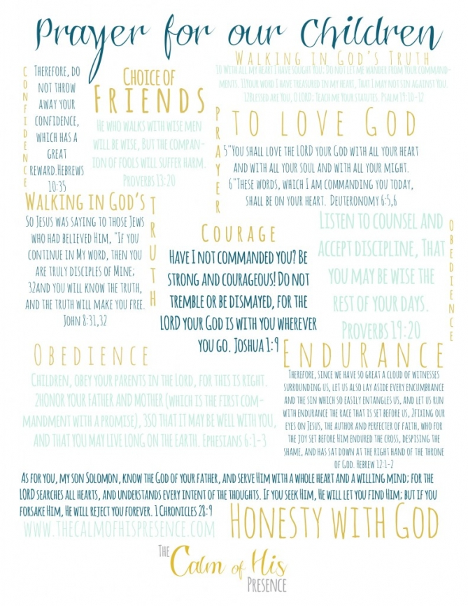 Free Printable, Praying for our Children from thecalmofhispresence.com