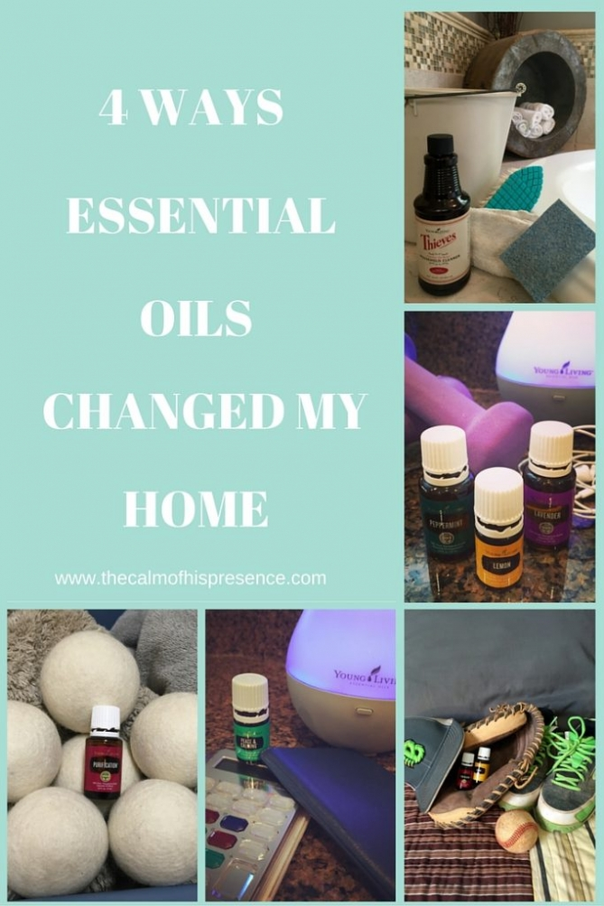 4 ways essential oils changed my home. Using Essential Oils for laundry, wool balls. Using Essential oils to eliminate sweaty sports odors/dog odors. Cleaning with essential oils. www.thecalmofhispresence.com